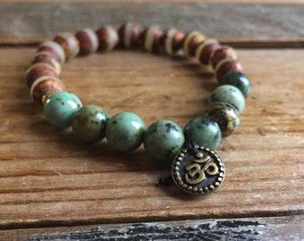 Limited Edition | Matte Dzi Agate, African Turquoise + Om | Spiritual Junkies | Yoga + Meditation | Stackable Mala Bracelet
