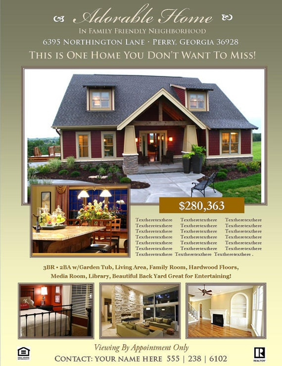Home Brochure Template Geccetackletartsco - Home for sale flyer template