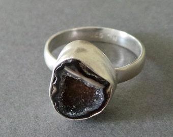 Mini Split Geode Ring Matte Sterling Silver Ring Black Druzy Ring size 6