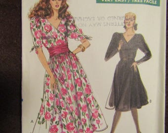 1989 Ladies VOGUE Pattern DRESS Flared Skirt/Mock Wrap Bodice Sizes 18-20-22