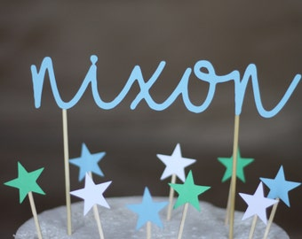 Names & stars cake topper kit