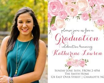 Pink Floral Graduation Party Invitation Floral Graduation.  Graduation Photo Printable Invitation Watercolor, Graduation Announcement, photo