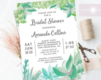 Succulent Bridal Shower, Succulent Invite, Watercolor Succulent, Wedding Shower, Couple Shower, Calligraphy Invite, Digital, jadorepaperie