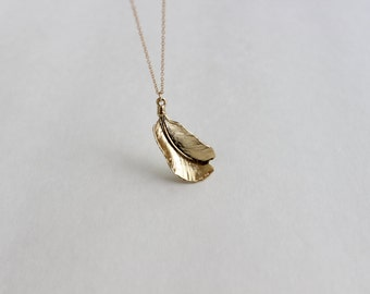 Boho Chic Fallen Leaf Necklace, 14k Gold Fill Layering Necklace