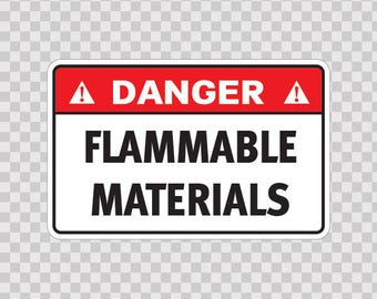 Decals sticker Danger Flammable Materials Store Sports 19119
