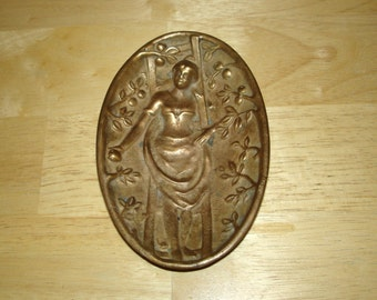 Brass Art Nouveau Naughty Lady in Garden Dish Card Holde