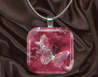 Lacey Butterfly Glass Tile Pendant with chain(CuBu3.5)