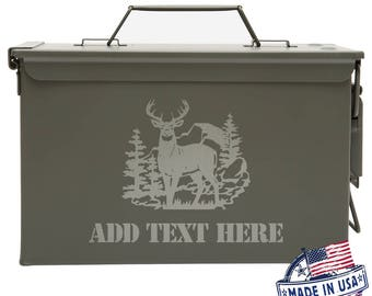 Deer in the Mountains Personalized Ammo Box Mens Cool Guy Gifts Father's Day Gift Ideas Personalized Grandpa Gift Groomsmen Hunter