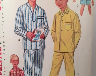 ON SALE 1950s Boys Pajamas, Simplicity 1434, Sewing Pattern, Summer Pajamas, Winter Pajamas, Long Sleeve Pajamas, Short Sleeve Pajamas,Elast