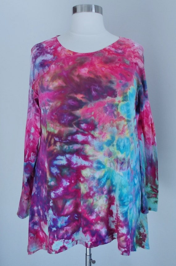 Hanky hem tunic Ice dye tie dye Women's  Long Sleeve Cotton Shirt 3XL