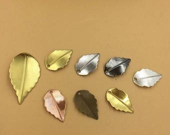 Wholesale 100 Brass Filigree Leaves 10x17mm/ 16x25mm Raw Brass/ Antique Bronze/ Silver/ Gold/ Rose Gold/ White Gold/ Gun-Metal Plated