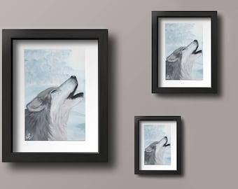 8x10,8.5x11,11x14 Digital Art Print of Original Acrylic Wolf Painting on Wood, Wolf Wall Art, Wolf Art, Wildlife Wall Art, Wildlife Art, Art