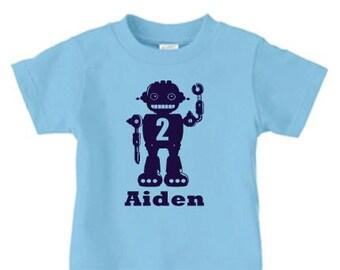 Personalized robot birthday shirt for boys, 2nd birthday shirt