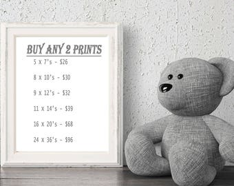"""Personalized Wall Art For Newborn Baby Nursery And Childrens Bedroom, Buy ANY TWO Prints, Baby Shower Gift, 6 Sizes - 5x7 to 24x36"""" Poster"""
