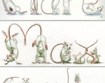 Your Name in Rats! - Custom original artwork, rat drawing in Spelling Animals - rodents, mice etc will spell any name for you.