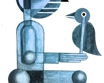 "original abstract print  ""Birdman"""