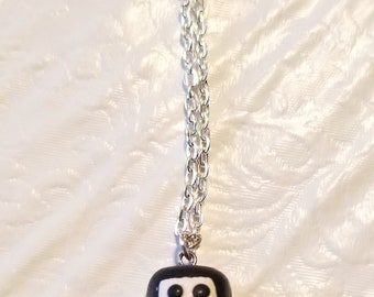 Miniature penguin polymer clay charm necklace