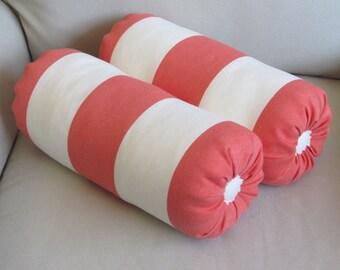 CORAL Stripes Bolster pillows 6x14 PAIR