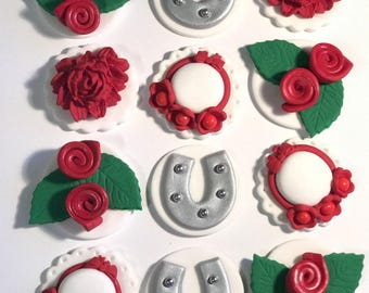 Kentucky Derby time! Handmade Fondant Kentucky Derby Toppers for your Cupcakes, Cakes, or Cookies. Set includes 12 (one dozen)