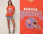 Football Tshirt DENVER BRONCOS Shirt NFL T Shirt Burnout Football T Shirt Colorado Tee 80s Sports Top Vintage Retro Small