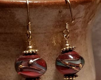 Handmade Earrings - 14K Gold Filled Earwires, WONKY Lampwork Glass Beads