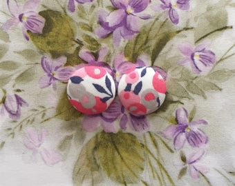 Wholesale Button Earrings / Fabric Covered / Bulk Jewelry / Made in USA / Pink and Gray / Sensitive Stud Earrings / Bridal Shower Favors