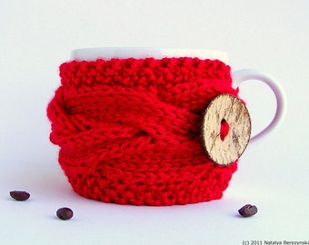 Coffee Cozy, Coffee Sleeve, Coffee Mug Cozy, Coffee Cup Sleeve, Coffee Cup Cozy, Knit Coffee Cozy, Tea Cozy, Vegan Gifts, Red Gifts