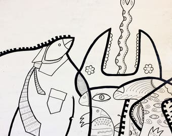 """Original Art """"This Oddy Knocky"""" ink illustration on canvas by evilchimpo"""