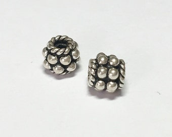 2 Bali Sterling Silver Spacer with Granulation, .925 Heavy Sterling Silver Oval Spacer Beads 4x5mm