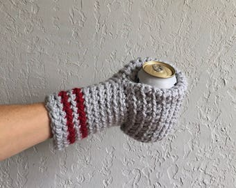 Beer Mitten / Beer Gift / Beer Glove / Gray / Beer Gift / Tailgating / Ice Fishing / School Colors / Team Colors / Drinking Gift