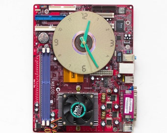 Unique red Wall clock, recycled Computer clock, housewarming gift, red circuit board wall clock - c1563