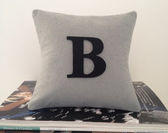Black Letter on Light Grey Pillow/ Cushion