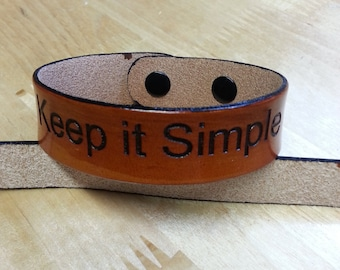 Keep in simple leather bracelet- now with metal segma snaps