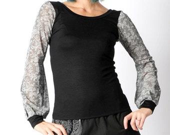 Black womens top, lace print sheer sleeves, Long puffy sleeves, grey lace print, Black and lace top, MALAM