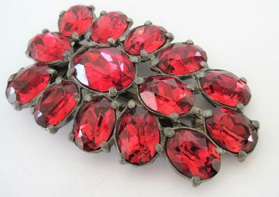 Art Deco Dress Clip, Czech Red Rhinestone, 30's Pot Metal