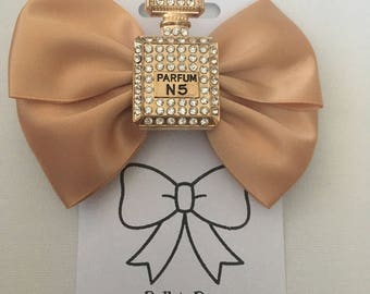 Gold Perfume Bottle Metal Hair Bow