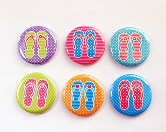 Flip Flop magnets, flip flops, button magnets, Kitchen Magnets, bright colors, locker magnets, stocking stuffer (3286)