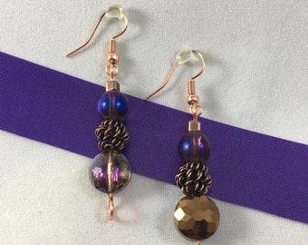 Purple, Blue and Copper Drop Earrings