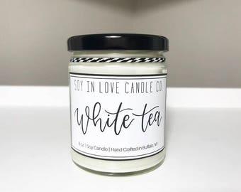 White Tea Candle/ All Natural Soy Wax Candle/ 9 oz Candle