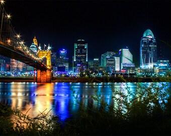 Cincinnati Skyline, Cincinnati Night Photography, urban landscape Art Print, Downtown Cincinnati, Ohio River Print, city photography,