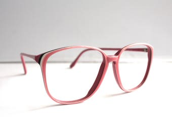 Vintage 1980s Eyeglass Frames // 80s 90s Bubblegum Pink Oversized Keyhole Glasses // Richard Michel 360 198 France // SS1