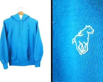 Vintage 80s Wrangler Hoodie Blue Pullover Hooded Sweatshirt - Small / XS
