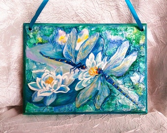 Wall art-Painted wall decor-Dragonfly-Lily-Home decor-Wood decorations-Unique gift-Wall hanging-blue-green
