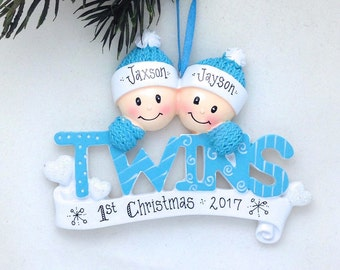 Baby Twins First Christmas Ornament / Personalized Baby Ornament / Baby Christmas Ornament / New Babies Ornament
