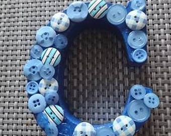 Decorated wooden letters - Blue