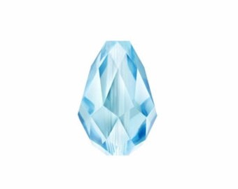 9mm Aquamarine Swarovski Teardrop Crystals - Aquamarine Blue - Beads - Pkg of 24