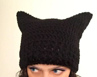 Pussy hat cat women's march pussyhat project impeach trump lgbt immigrant rights BLACK color bowling green massacre pink pussy hat liberal