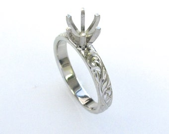 Hand Engraved Engagement Ring with Vine and Leaf Hand Engraving in 14k white gold-Semi-mount