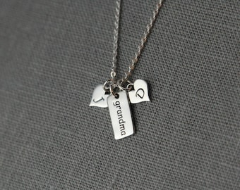 Family Necklace Personalized Grandma Necklace, Sterling Silver Grandmother Necklace Personalized Initial Necklace for Grandma