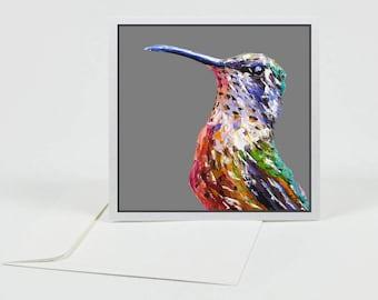 Hummingbird Greeting Card, more colours, bird art, colourful bird, palette knife oil, fine art gift card, blank greeting card